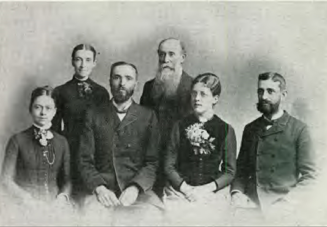 Missionaries on the first voyage of the Pitcairn (1890). Elder and Mrs. E. H. Gates (left), Elder and Mrs. A. J. Read (right), and Mr. and Mrs. J. I. Tay (standing).