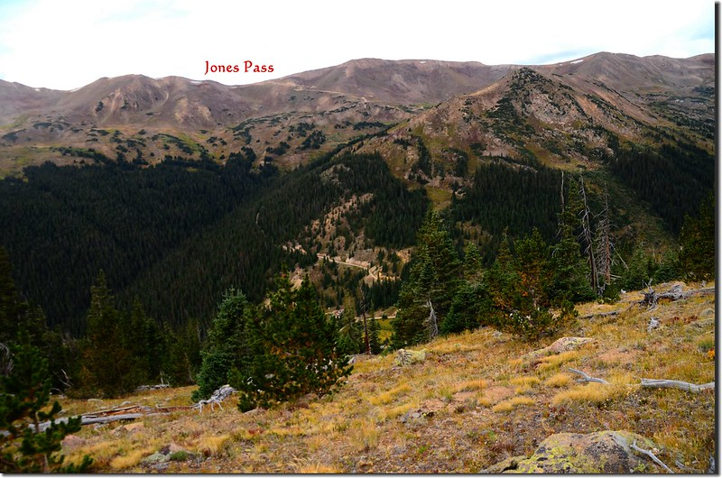 Looking southwest at Jones Pass from Continental Divide Trail 1