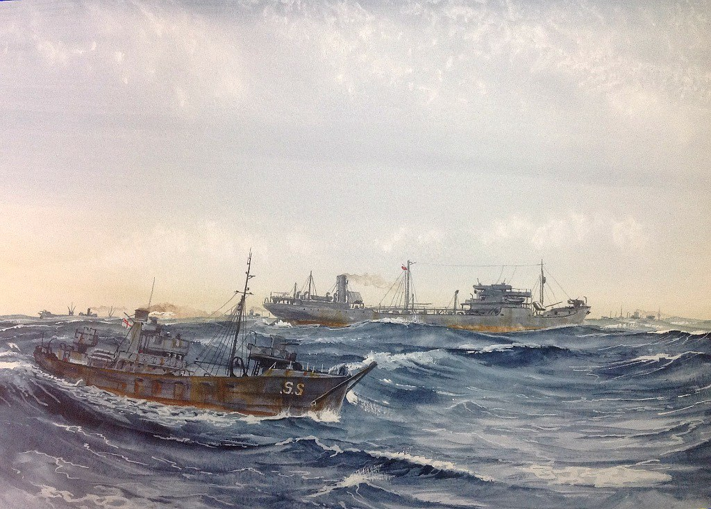 This afternoon's painting. Armed Trawler 'Sanson' and the Soviet Tanker 'Taupse' in a North Atlantic Convoy