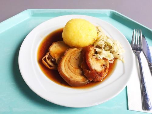 Rolled pigling roast in dark beer sauce with potato dumpling & cole slaw / Spanferkelrollbraten in Dunkelbiersoße mit Kartoffelknödel und Krautsalat