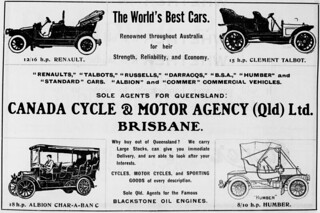 Advertisement for Canada Cycle and Motor Agency agents for various cars in Queensland
