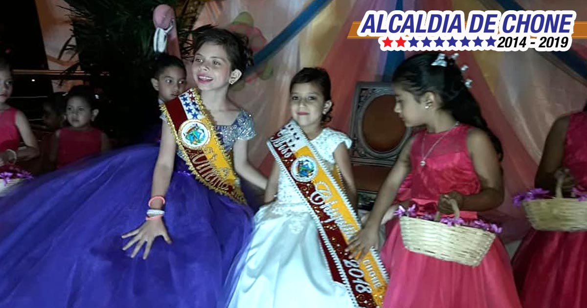 Ammy Sophia Arteaga Arteaga fue proclamada la noche de este viernes 17 de Agosto de 2018 como la nueva Mis Chiquitita Chone 2018