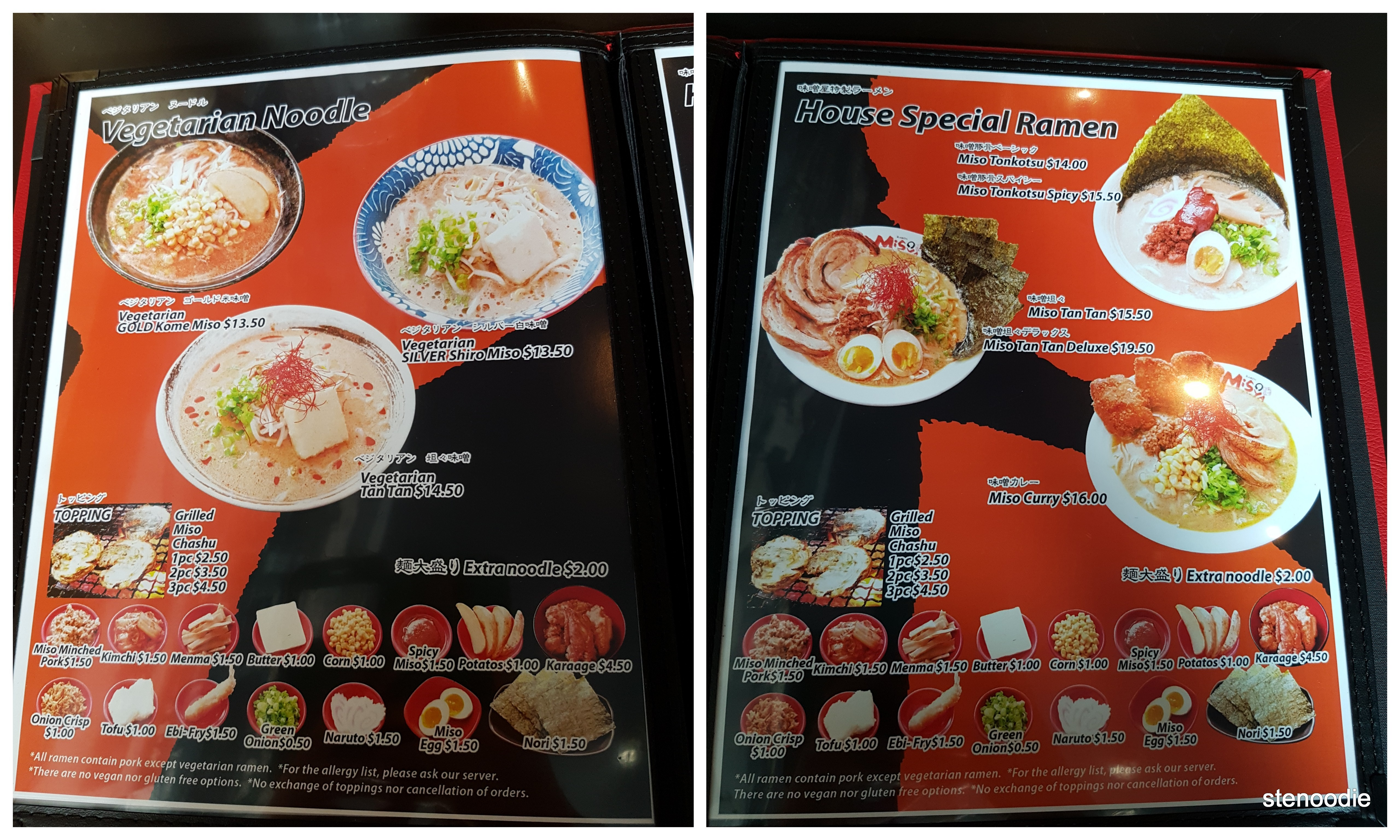 Ramen Misoya Toronto menu and prices