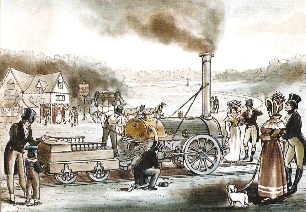 Stephenson's 1830 locomotive Northumbrian of the Liverpool and Manchester Railway (1830). Dendy Marshall (1930) identifies the print as being