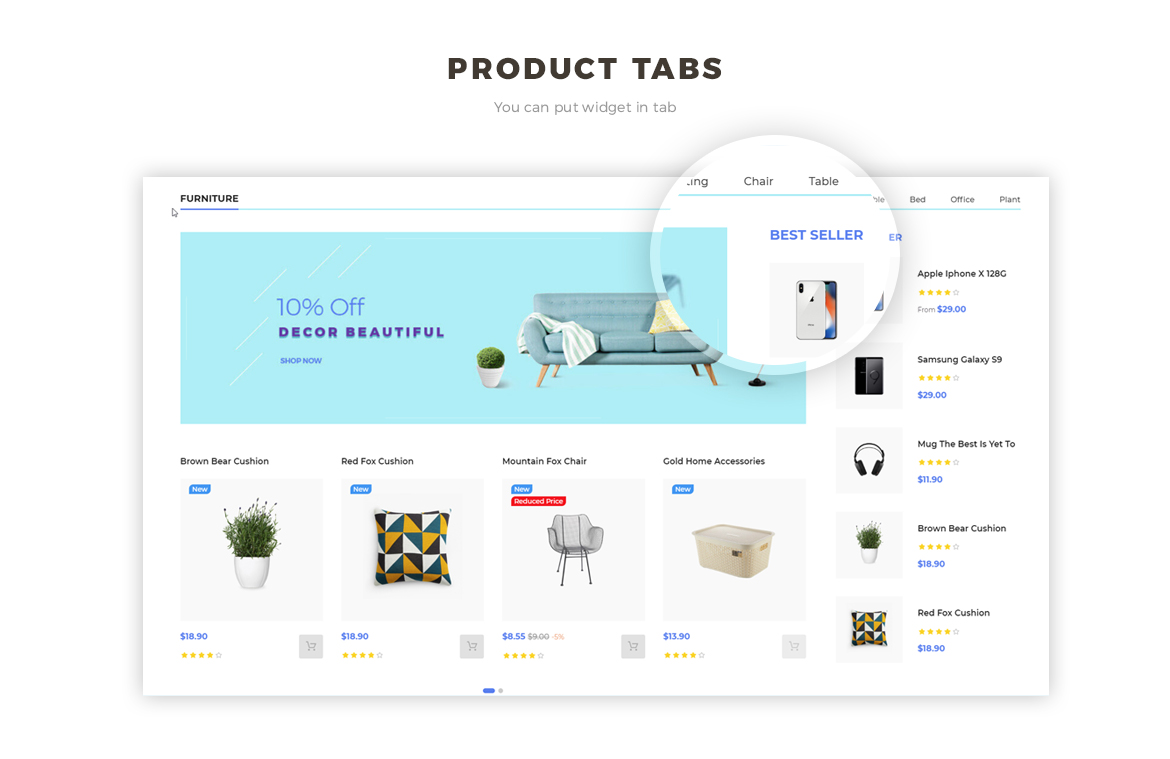 Product Tab feature - Hitech and Electronic store