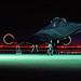 An SR-71B Blackbird sits on the runway after sundown. (Courtesy photo/9th Reconnaissance Wing)