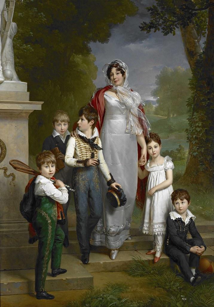 Francois Pascal Simon Gérard - Portrait of Louise-Antoinette-Scholastique Guéhéneuc, Madame la Maréchale Lannes, Duchesse de Montebello, with her Children (1814)