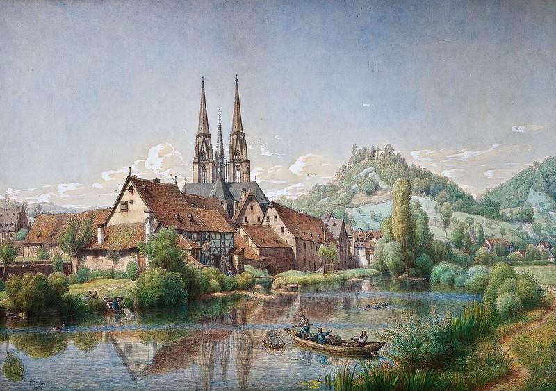 Peter Becker - Blick auf Marburg (1874)
