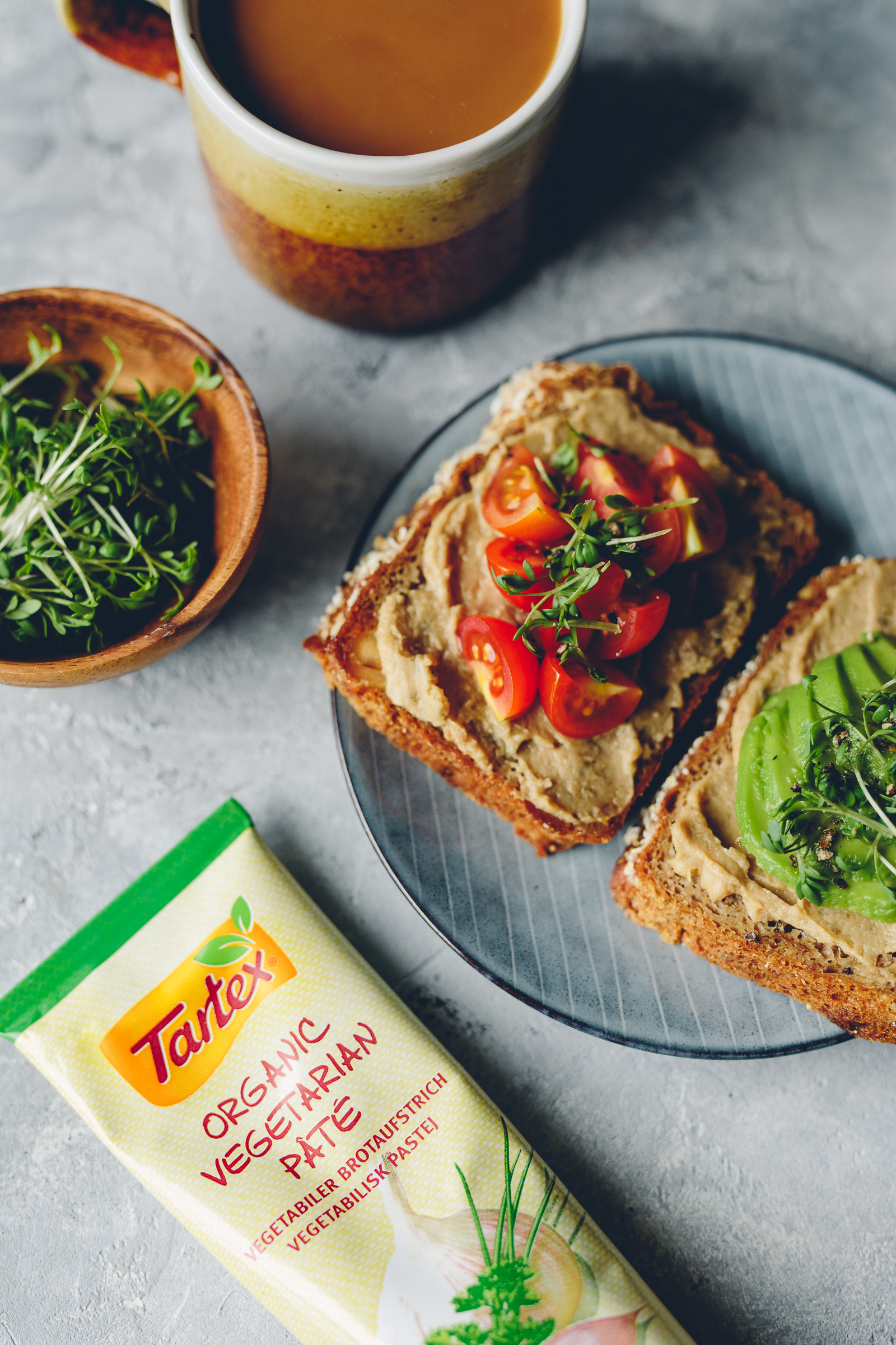 Toast with Tartex, Avo, Pickled Cucumber & Tomato | Cashew