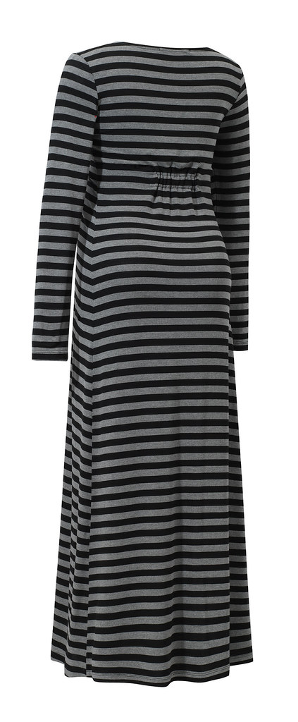 Lona dress grey stripes back