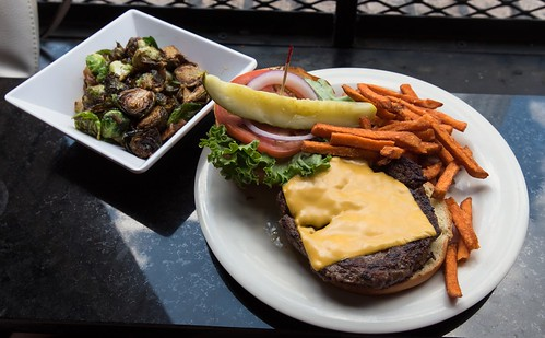 Cheeseburger with sweet potato fries and Brussels sprouts at the Diner in Nashville