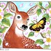 A Deer with a butterfly (2) with Apple Blossoms