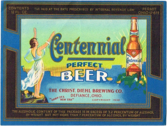 Centennial-Perfect-Beer--Labels-The-Christ-Diehl-Brewing-Co--Post-Prohibition