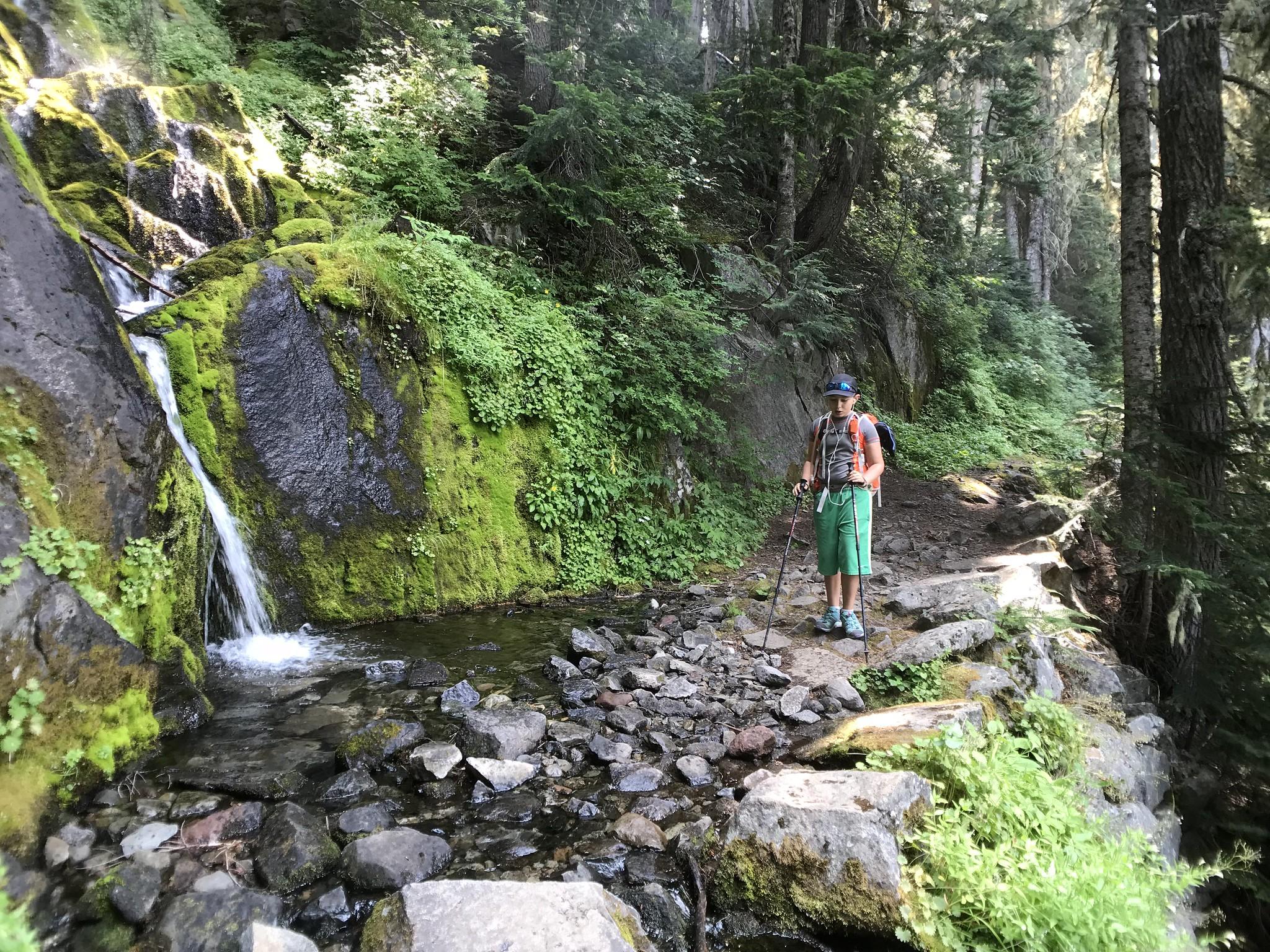 Casper passing a small waterfall