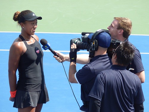 Naomi Osaka being interviewed