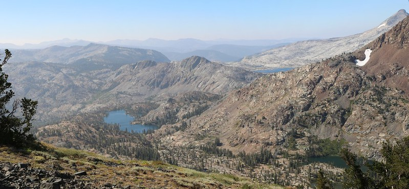 Susie Lake (left), Alta Morris Lake (lower right), and distant Lake Aloha from Dicks Pass on the PCT
