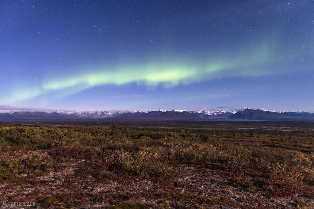 Aurora borealis over the Alaska Range - Alaska
