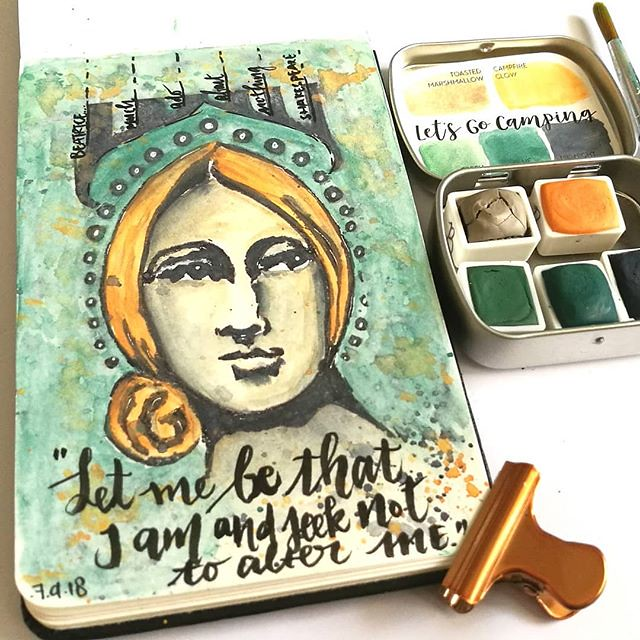 """Let me be that I am and seek not to alter me"" - Beatrice from Much Ado about Nothing by Shakespeare. Watercolor play from a few days ago with this gorgeous set from @designsbyrachelbeth I used Toasted Marshmallow for the face (lightly shaded with midnigh"