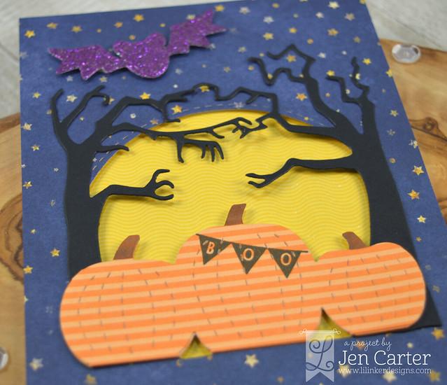 Jen Carter Harvest Moon Stitched Bats Spooky Trees Boo Balloons Closeup 1