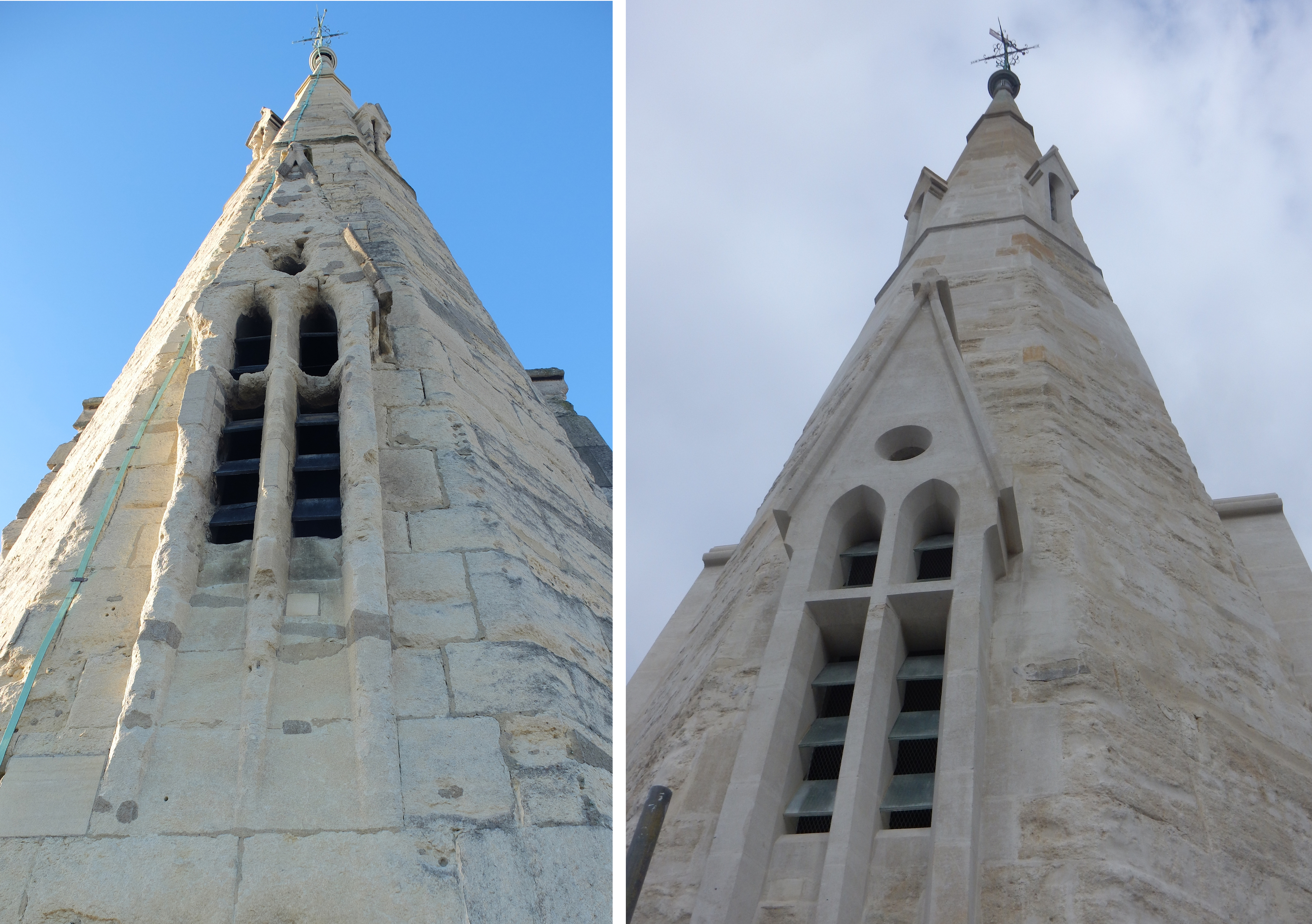 St Jude's church, now occupied by St Millitus college, Kensington,  Lucarne Before After