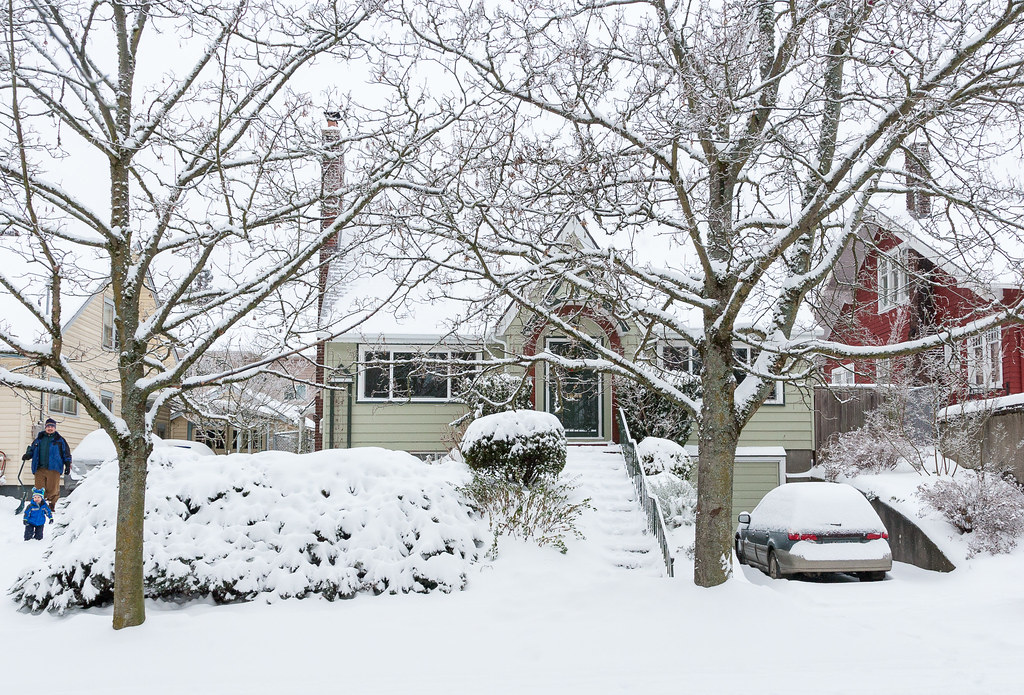 Our snow-covered house in the Irvington neighborhood of Portland, Oregon after a winter storm in December 2008