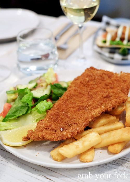 Skate schnitzel at Fich seafood restaurant in Petersham Sydney