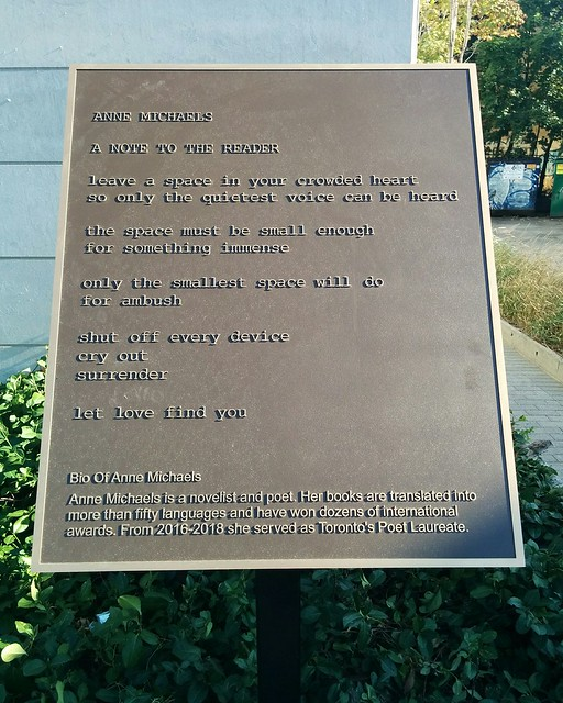 "Anne Michaels, ""A Note to the Reader"" #toronto #bloorcourt #bloorstreetwest #bloorgladstonelibrary #poetry #annemichaels #plaque"