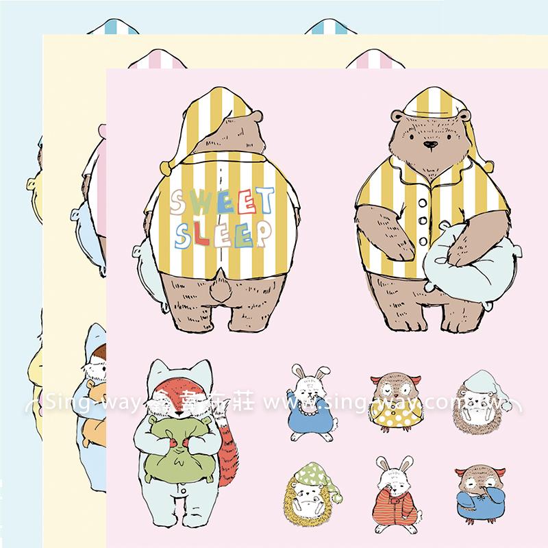 原-SleepTime (3.3尺一圖) 動物 熊 貓頭鷹 兔子 刺蝟 狐狸 手工藝DIy拼布布料 CF2500002