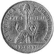 1855 Paraguay 4 pesos obverse