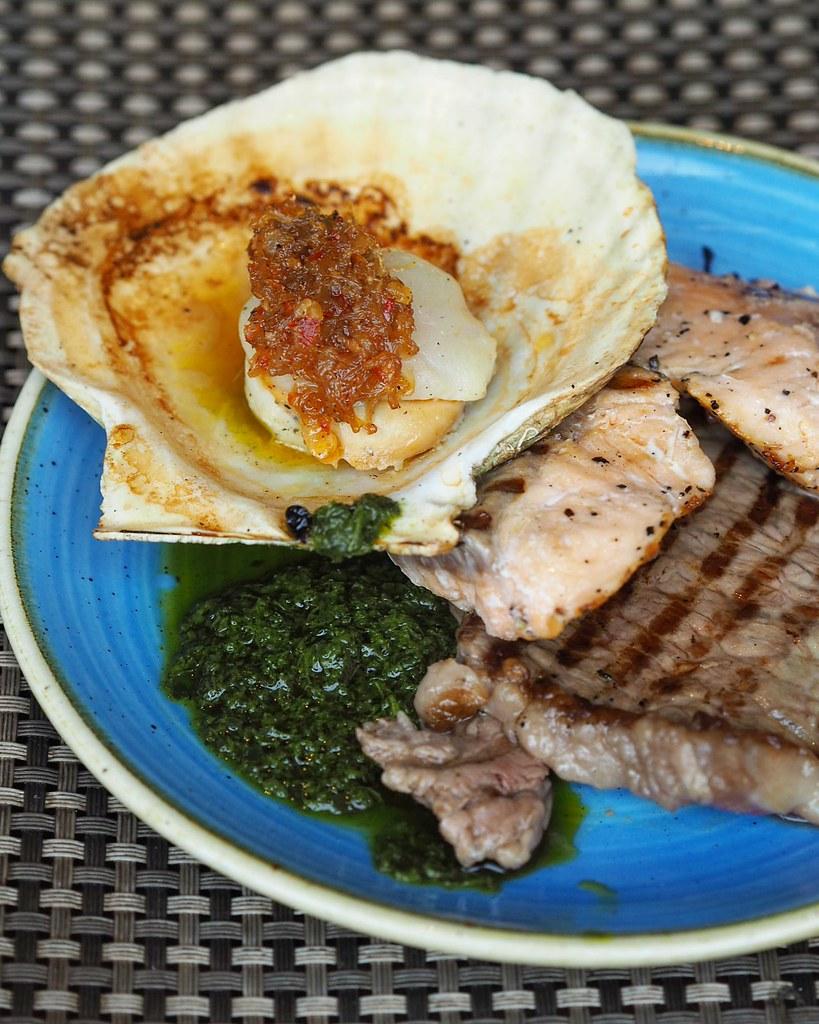 Wagyu beef, salmon, scallop