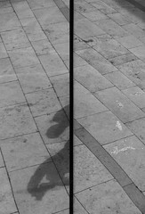 Canon EOS 60D - B&W  - Pavement Abstract - View in the Mirror globe, Millenium Square, Bristol