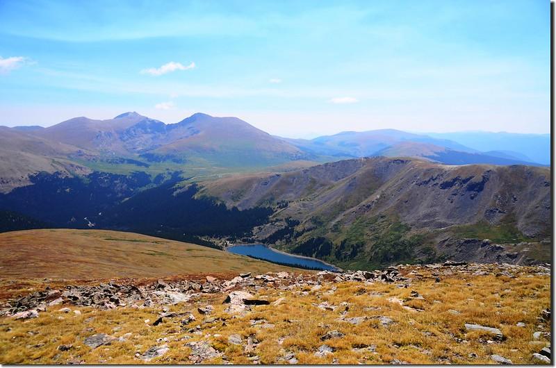 Looking east at Evans & Bierstadt from Wilcox's summit