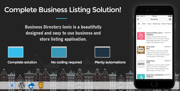 Business Directory Ionic 3 v1.0 – Full Application with Firebase and Backendless backend