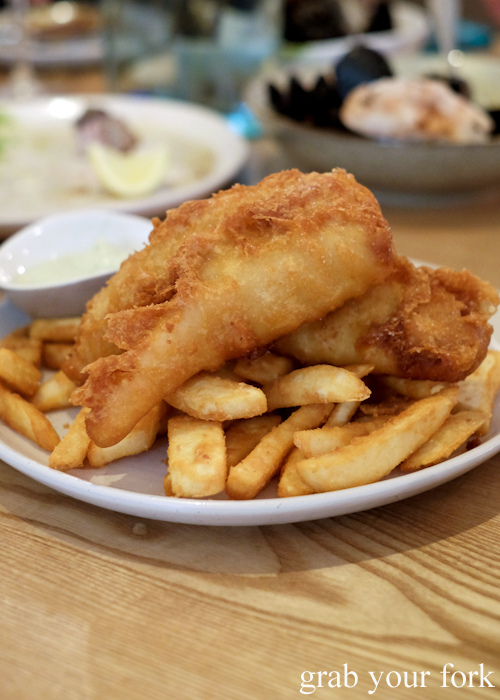 Beer battered ling fish and chips at Fich seafood restaurant in Petersham Sydney