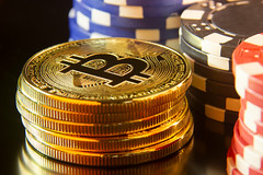 Bitcoins with poker chips
