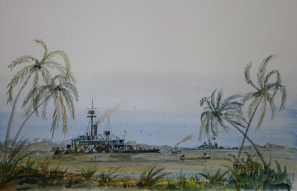 HM ships Severn and Mersey maneuver into position in the Rufiji River in East Africa during the action against the German Light Cruiser Konigsberg in WW1