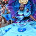 DSC_8400 Notting Hill Caribbean Carnival London Exotic Colourful Turquoise Blue and Purple Costume with Ostrich Feather Headdress Girls Dancing Showgirl Performers Aug 27 2018 Stunning Ladies