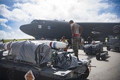 ANDERSEN AIR FORCE BASE, Guam (Sept. 16, 2018) U.S. Air Force Airmen with the 96th Aircraft Maintenance Unit prepare a Quick Strike extended range mine to be loaded onto a B-52 as part of exercise Valiant Shield 2018. Valiant Shield is a biennial, U.S. only, field training exercise with a focus on integration of joint training among U.S. forces. (U.S. Air Force photo by Senior Airman Zachary Bumpus)
