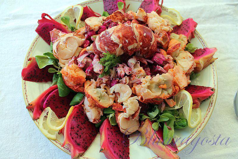 01-astice in insalata con pitaya e salsa alle erbe aromatiche