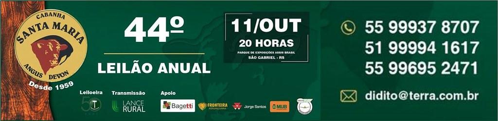 44º Leilão Cabanha Santa Maria - 11 de outubro no Parque Assis Brasil, em São Gabriel