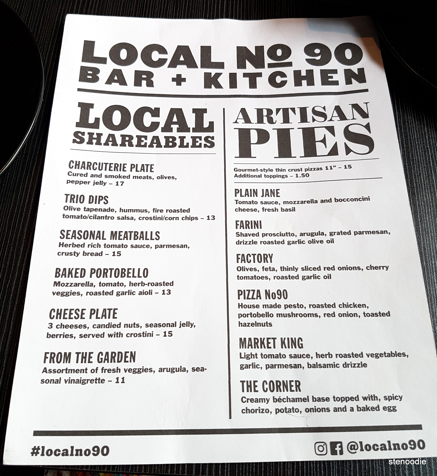 Local No90 Bar + Kitchen menu and prices