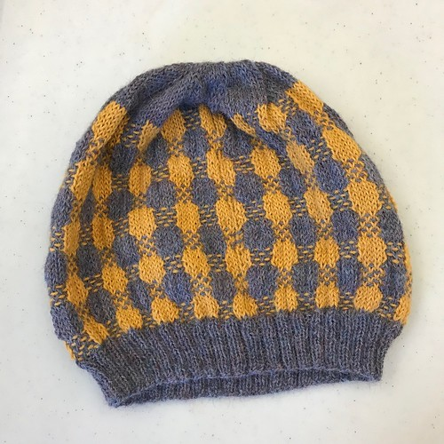 Sandi's plaid test knit using dome leftover Drops Alpaca from her Birds and Bikes test knit