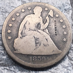 1859-O Seated Liberty Dollar obverse EVERMANcounterstamp
