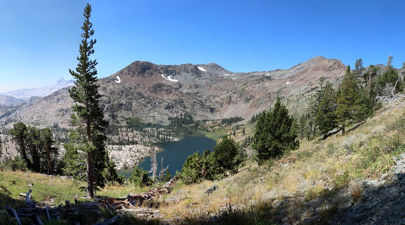 Jacks Peak, Dicks Peak, Half Moon Lake, and Alta Morris Lake from the Pacific Crest Trail
