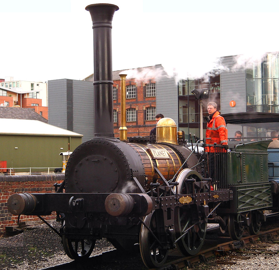 A working replica of Robert Stephenson's's 1830 locomotive Planet which ran on the Liverpool and Manchester Railway. Seen here at the Manchester Science Museum in October 2006.