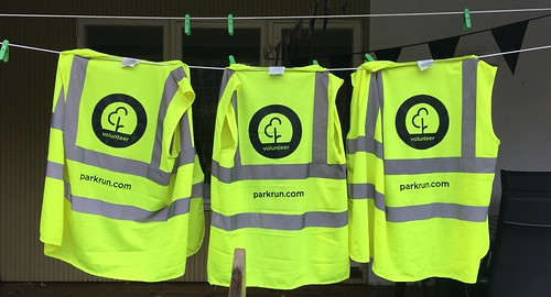 volunteer vests drying on the line