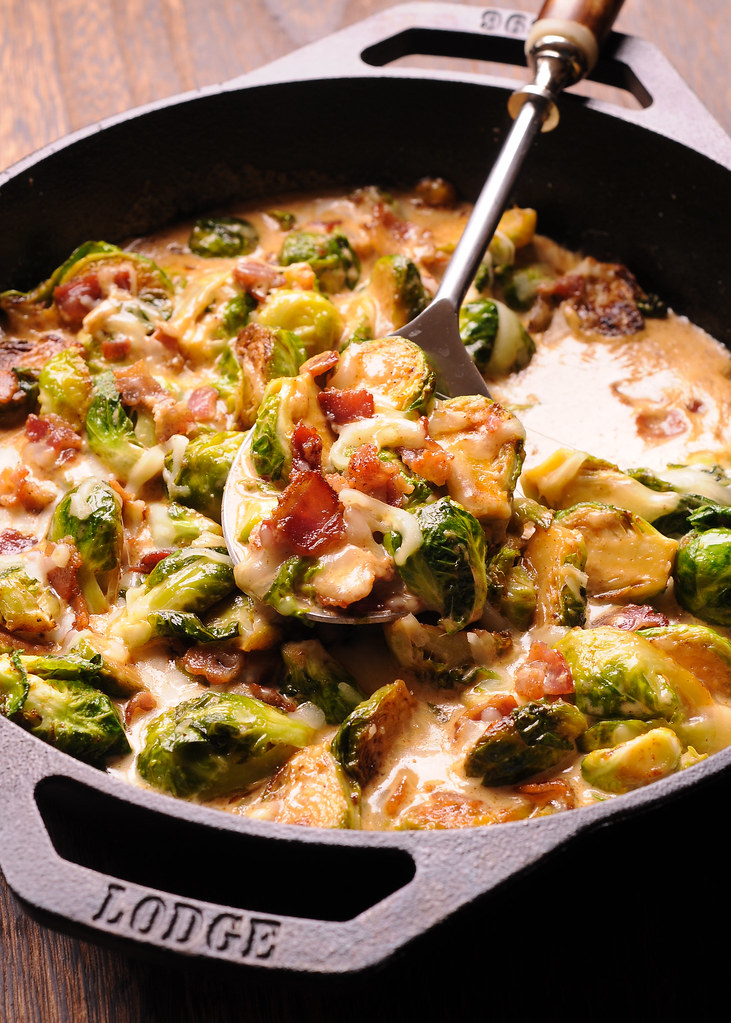 Creamy Brussels Sprouts with Bacon and Mozzarella