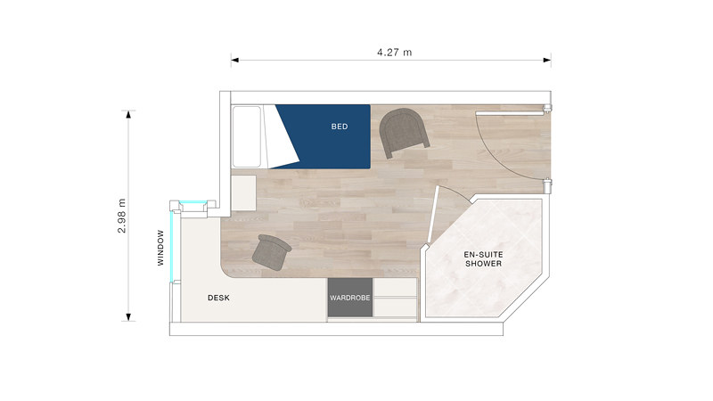 Floor plan for a standard bedroom in Woodland Court