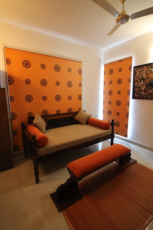 Bock print blinds and curtains in the bedroom