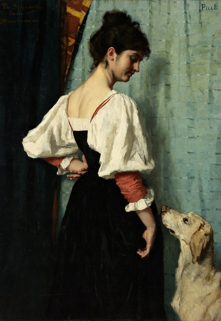 Thérèse Schwartze - Young Italian woman with the dog Puck